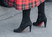 Close-up of First lady Melania Trump's boots as she and United States President Donald J. Trump accept the White House Christmas tree on the North Driveway of the White House in Washington, DC on Monday, November 19, 2018. The 2018 White House Christmas Tree will arrive as in previous years by horse and carriage on the North Portico. The tree will be displayed in the Blue Room of the White House. <br /> Credit: Ron Sachs / CNP<br /> (RESTRICTION: NO New York or New Jersey Newspapers or newspapers within a 75 mile radius of New York City)