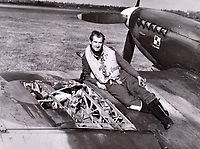 BNPS.co.uk (01202 558833)<br />Pic: C&T/BNPS<br /><br />Damaged wing of one of 316 Sqn Spitfires.<br /> <br /> A fascinating photo album has sold for £1200 at auction - the previously unseen photographs chart the wartime career of Polish aristocrat Antoni Lipkowski -revealing how the emigree from Nazi Europe became a fighter pilot in the RAF.<br /> <br /> Flight Lieutenant Antoni Lipkowski escaped Poland when Germany invaded in 1939 and was desperate to join in the fight against the Nazis.<br /> <br /> Previously a cavalry officer, he retrained as a pilot and joined one of the Polish squadrons based in Britain which did such sterling work defending these skies in World War Two.<br /> <br /> Flt Lt Lipkowski, of 316 Polish Fighter Squadron, was very tall for a pilot and turned heads with his 'handsome' appearance.<br /> <br /> There are images of him in the cockpit of his Spitfire and posing nonchalantly in front of it with a cigarette in his hand.