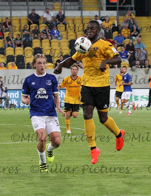 Erich Berko chests the ball down with Tom Davies watching in the Dynamo Dresden v Everton match in the Bundeswehr Karriere Cup Dresden 2016 played at the DDV Stadion, Dresden on 29.7.16.