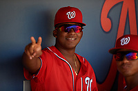 Washington Nationals Leandro Emiliani (8) in the dugout during an Instructional League game against the Miami Marlins on September 26, 2019 at FITTEAM Ballpark of The Palm Beaches in Palm Beach, Florida.  (Mike Janes/Four Seam Images)