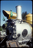 Smokebox area view of RGS C-19 #41 in gaudy Grande Gold paint job at Knott's Berry Farm lettered for Denver and Rio Grande.<br /> RGS (D&amp;RG)  Buena Park, CA  ca. 1970-1979