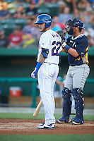 South Bend Cubs catcher Tyler Alamo (22) at bat during a game against the Burlington Bees on July 22, 2016 at Four Winds Field in South Bend, Indiana.  South Bend defeated Burlington 4-3.  (Mike Janes/Four Seam Images)