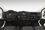 Stock photo of straight dashboard view of a 2018 Peugeot Boxer Pro 3 Door Cargo Van