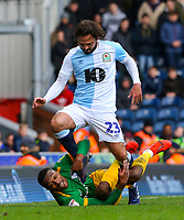 Preston North End's Darnell Fisher holds onto the legs of Blackburn Rovers' Bradley Dack<br /> <br /> Photographer Alex Dodd/CameraSport<br /> <br /> The EFL Sky Bet Championship - Blackburn Rovers v Preston North End - Saturday 9th March 2019 - Ewood Park - Blackburn<br /> <br /> World Copyright © 2019 CameraSport. All rights reserved. 43 Linden Ave. Countesthorpe. Leicester. England. LE8 5PG - Tel: +44 (0) 116 277 4147 - admin@camerasport.com - www.camerasport.com