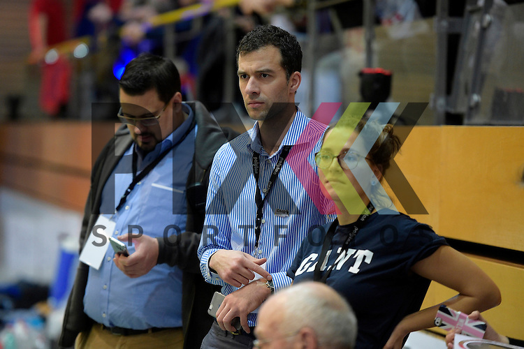 GER - Luebeck, Germany, February 06: Before the 1. Bundesliga Damen indoor hockey semi final match at the Final 4 between Rot-Weiss Koeln (white) and Mannheimer HC (blue) on February 6, 2016 at Hansehalle Luebeck in Luebeck, Germany.  Jan Fischer (DHB)<br /> <br /> Foto &copy; PIX-Sportfotos *** Foto ist honorarpflichtig! *** Auf Anfrage in hoeherer Qualitaet/Aufloesung. Belegexemplar erbeten. Veroeffentlichung ausschliesslich fuer journalistisch-publizistische Zwecke. For editorial use only.
