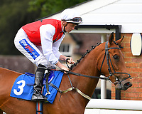 Glamorous Dream ridden by David Probert goes down to the start of The Molson Coors Handicap (Class 6) during Afternoon Racing at Salisbury Racecourse on 12th June 2018
