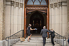 August 6, 2017; The Parseghian family enters the Basilica for a Memorial Mass for former football coach Ara Parseghian. (Photo by Matt Cashore/University of Notre Dame)