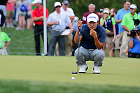 Sung Kang (USA) lines up his putt on 2 during round 3 of the Shell Houston Open, Golf Club of Houston, Houston, Texas, USA. 4/1/2017.<br /> Picture: Golffile | Ken Murray<br /> <br /> <br /> All photo usage must carry mandatory copyright credit (&copy; Golffile | Ken Murray)