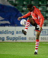 Lincoln City's Jordan Adebayo-Smith during the pre-match warm-up<br /> <br /> Photographer Chris Vaughan/CameraSport<br /> <br /> The EFL Checkatrade Trophy Northern Group H - Lincoln City v Wolverhampton Wanderers U21 - Tuesday 6th November 2018 - Sincil Bank - Lincoln<br />  <br /> World Copyright © 2018 CameraSport. All rights reserved. 43 Linden Ave. Countesthorpe. Leicester. England. LE8 5PG - Tel: +44 (0) 116 277 4147 - admin@camerasport.com - www.camerasport.com
