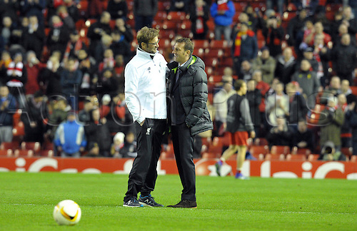 25.02.2016. Liverpool, England. UEFA Europa League game between Liverpool FC and Augsburg.  Augsburg's head coach Markus Weinzierl (r) talks to Liverpool's head coach Juergen Klopp prior to the UEFA Europa League round of 32