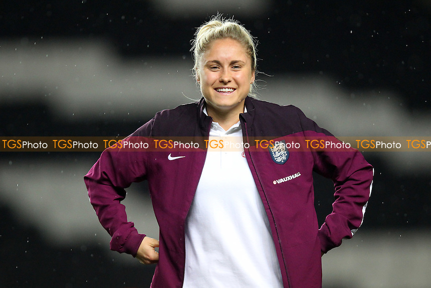 Steph Houghtpn of England of England looks on ahead of kick-off - England Women vs USA Women - International Football Friendly Match at Stadium MK, Milton Keynes Dons FC - 13/02/15 - MANDATORY CREDIT: Gavin Ellis/TGSPHOTO - Self billing applies where appropriate - contact@tgsphoto.co.uk - NO UNPAID USE