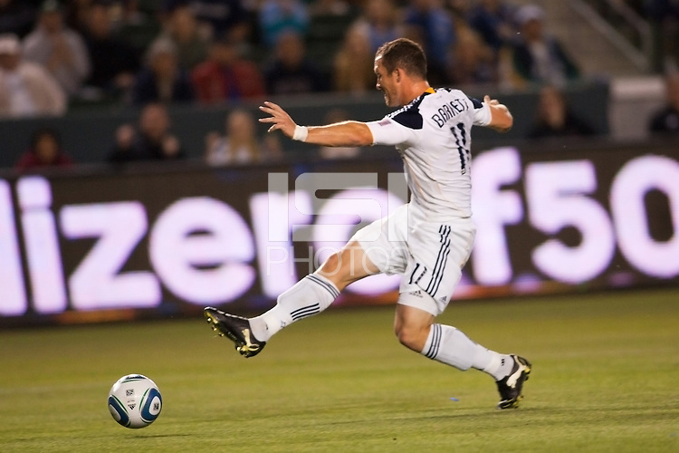 Chad Barrett (11) forward for the LA Galaxy with a shot on goal. The LA Galaxy defeated the Portland Timbers 3-0 at Home Depot Center stadium in Carson, California on  April  23, 2011....