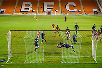West Bromwich Albion U21's Jonathan Bond makes a save in the second half<br /> <br /> Photographer Alex Dodd/CameraSport<br /> <br /> The EFL Checkatrade Trophy Northern Group C - Blackpool v West Bromwich Albion U21 - Tuesday 9th October 2018 - Bloomfield Road - Blackpool<br />  <br /> World Copyright &copy; 2018 CameraSport. All rights reserved. 43 Linden Ave. Countesthorpe. Leicester. England. LE8 5PG - Tel: +44 (0) 116 277 4147 - admin@camerasport.com - www.camerasport.com