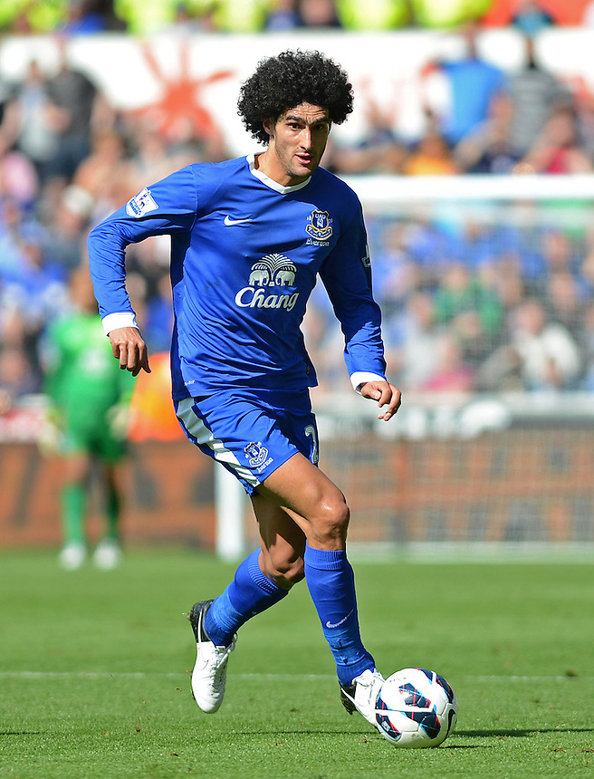 Everton's Marouane Fellaini in action during todays match  ..Football - Barclays Premiership - Swansea City v Everton - Saturday 22nd September 2012 - Liberty Stadium - Swansea..
