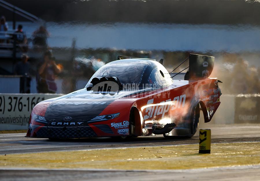 Mar 16, 2018; Gainesville, FL, USA; NHRA funny car driver Cruz Pedregon during qualifying for the Gatornationals at Gainesville Raceway. Mandatory Credit: Mark J. Rebilas-USA TODAY Sports