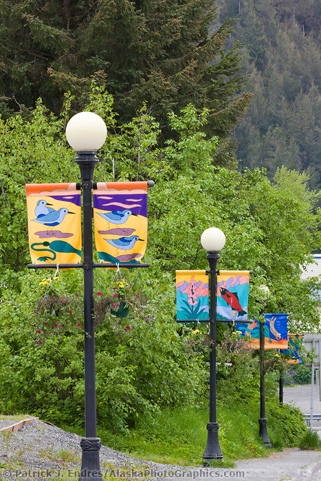 Street banners in downtown Cordova, southcentral, Alaska.