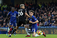 Riyad Mahrez of Leicester city and Andreas Christensen of Chelsea during Chelsea vs Leicester City, Premier League Football at Stamford Bridge on 13th January 2018