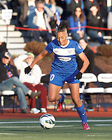 Boston Breakers forward Lianne Sanderson (10) brings the ball forward.  In a National Women's Soccer League Elite (NWSL) match, the Boston Breakers (blue) tied the Washington Spirit (white), 1-1, at Dilboy Stadium on April 14, 2012.