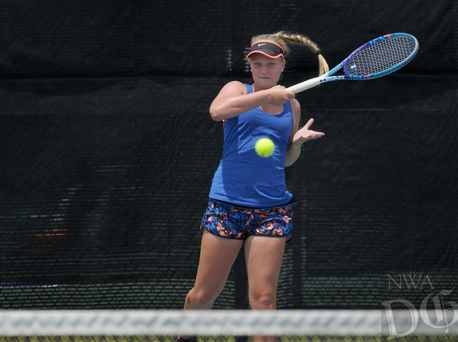 NWA Democrat-Gazette/BEN GOFF @NWABENGOFF<br /> Yasmine Humbert of Bentonville competes Sunday, July 16, 2017, in the girls 16 singles final during the Serena Smith State Farm Junior Open State tennis tournament at the Memorial Park tennis courts in Bentonville. Humbert defeated Erica Jaggernauth of Rogers to win the tournament.