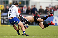 Matt Banahan of Bath Rugby tackles Liam Williams of Saracens. Aviva Premiership match, between Saracens and Bath Rugby on April 15, 2018 at Allianz Park in London, England. Photo by: Patrick Khachfe / Onside Images