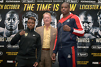 Nicola Adams (L), Frank Warren and Daniel Dubois during a Press Conference at the Landmark London Hotel on 2nd August 2018