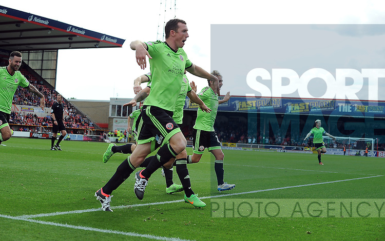 Neill Collins of Sheffield United celebrates scoring the opening goal of the game with team mates<br /> - Sky Bet League One - Swindon Town vs Sheffield United - The County Ground - Swindon - England - 29th August 2015 <br /> --------------------