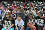 Fans gather at U.S. Steel Yard Stadium before a hometown tribute to Michael Jackson begins in Gary, Indiana on July 10, 2009.  Jackson died on June 25 at a Los Angeles hospital.