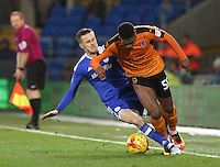 Craig Noone of Cardiff City challenges Ivan Cavaleiro of Wolverhampton Wanderers during the Sky Bet Championship match between Cardiff City and Wolverhampton Wanderers at The Cardiff City Stadium, Wales, UK. 13 December 2016