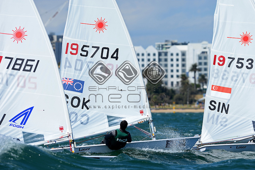 Laser / Peter Taua Elisa Henry (COK)<br /> ISAF Sailing World Cup - Melbourne<br /> St Kilda sailing precinct, Victoria<br /> Port Phillip Bay Wednesday 9 Dec 2015<br /> &copy; Sport the library / Jeff Crow
