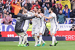 Real Madrid's James Rodriguez, Marco Asensio, Sergio Ramos, Marcelo and Nacho Fernandez celebrating a goal during La Liga match between Real Madrid and Valencia CF at Santiago Bernabeu Stadium in Madrid, April 29, 2017. Spain.<br /> (ALTERPHOTOS/BorjaB.Hojas)