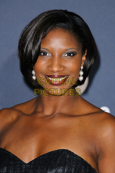 Denise Lewis.Arrivals at the Laureus 2012 World Sports Awards held at the Queen Elizabeth II Centre, London, England..February 6th, 2012.headshot portrait black strapless  .CAP/CJ.©Chris Joseph/Capital Pictures.