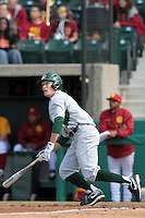 Dan Gulbransen (5) of the Jacksonville Dolphins bats against the USC Trojans at Dedeaux Field on February 19, 2012 in Los Angeles,California. USC defeated Jacksonville 4-3.(Larry Goren/Four Seam Images)