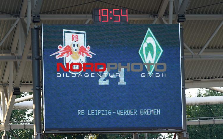 23.07.2013, Red Bull Arena, Leipzig, GER, 1.FBL, FSP, RB Leipzig vs Werder Bremen, im Bild Anzeigetafel mit dem Endstand<br /> <br /> Foto &copy; nph / Frisch