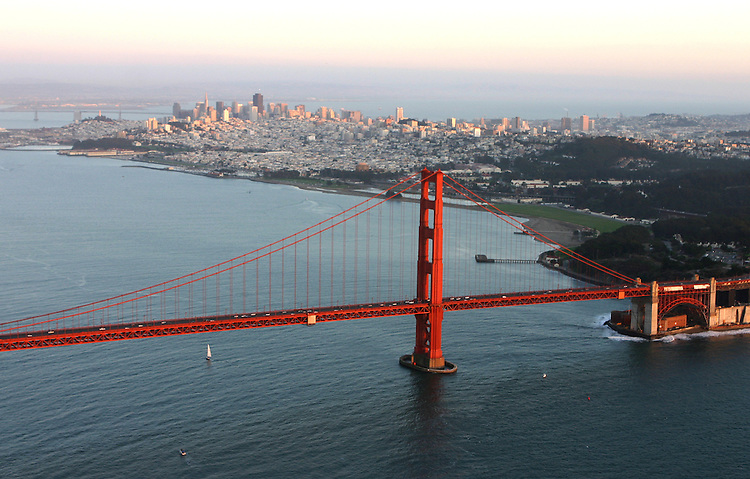 October 29, 2005; San Francisco, CA, USA; Aerial view of the Golden Gate Bridge in front of the City of San Francisco. Photo by: Phillip Carter