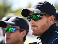 Mark Chapman and Martin Guptill.<br /> New Zealand Blackcaps v England. 5th ODI International one day cricket, Hagley Oval, Christchurch. New Zealand. Saturday 10 March 2018. &copy; Copyright Photo: Andrew Cornaga / www.Photosport.nz