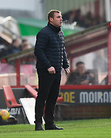 Mansfield Town manager David Flitcroft shouts instructions to his team from the technical area<br /> <br /> Photographer Chris Vaughan/CameraSport<br /> <br /> The EFL Sky Bet League Two - Lincoln City v Mansfield Town - Saturday 24th November 2018 - Sincil Bank - Lincoln<br /> <br /> World Copyright &copy; 2018 CameraSport. All rights reserved. 43 Linden Ave. Countesthorpe. Leicester. England. LE8 5PG - Tel: +44 (0) 116 277 4147 - admin@camerasport.com - www.camerasport.com