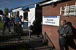Visiting players making their way to the dressing rooms at the UTS Stadium before the FA Cup fourth qualifying round match between Dunston UTS and their local rivals Gateshead. Founded in 1975, the home team were formerly known as Dunston Federation. The visitors won 4-0 watched by a record crowd of 2,500.