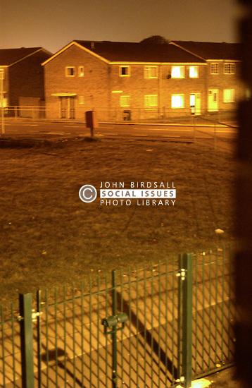 Council housing estate at night Tyneside UK