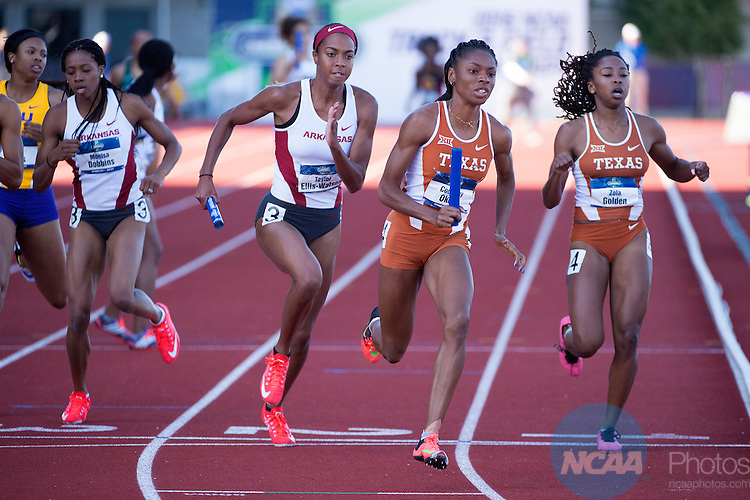 11 JUNE 2016:  Courtney Okolo of the University of Texas competes in the 4x400 meter relay during the Division I Women's Outdoor Track & Field Championship held at Hayward Field in Eugene, OR.  Texas won the event with a  3:27.64 time.  Jamie Schwaberow/NCAA Photos