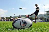 Action from the kicking clinic. Bath Rugby Family Festival of Rugby, on August 8, 2015 at the Recreation Ground in Bath, England. Photo by: Patrick Khachfe / Onside Images