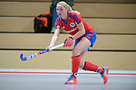 Mannheim, Germany, December 07: During the Regionalliga Damen Hallensaison 2014/15 hockey match between Mannheimer HC 2 (red) and TuS Obermenzing (green) on December 7, 2014 at Irma-Roechling-Halle in Mannheim, Germany. Final score 9-8 (4-3). (Photo by Dirk Markgraf / www.265-images.com) *** Local caption ***