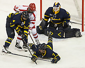 Marc Biega (Merrimack - 4), Ryan Cloonan (BU - 8), Jonathan Lashyn (Merrimack - 7), Collin Delia (Merrimack - 1) - The visiting Merrimack College Warriors defeated the Boston University Terriers 4-1 to complete a regular season sweep on Friday, January 27, 2017, at Agganis Arena in Boston, Massachusetts.The visiting Merrimack College Warriors defeated the Boston University Terriers 4-1 to complete a regular season sweep on Friday, January 27, 2017, at Agganis Arena in Boston, Massachusetts.