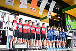 Trek-Segafredo mens and ladies teams at the team presentation before the start of the 105th edition of Li&egrave;ge-Bastogne-Li&egrave;ge 2019, La Doyenne, running 256km from Liege to Liege, Belgium. 27th April 2019<br /> Picture: ASO/Gautier Demouveaux | Cyclefile<br /> All photos usage must carry mandatory copyright credit (&copy; Cyclefile | ASO/Gautier Demouveaux)