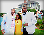 CEO of Iced Media Reggie Miller, Iced Media's Naledi K. Khabo and DJ M.O.S. attend &quot;Beach Glamour in the Hamptons, A Benefit Party<br />