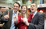 24/05/2014<br /> 20 year old Sinn Fein Candidate and UCC Student Lisa Marie Sheehy pictured here with fellow Sinn Fein candidates Seighin O Ceallaigh and Maurice Quinlivan following her election at the Limerick Count Centre.<br /> Pic: Don Moloney/Press 22