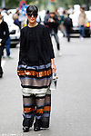 Laura Comolli arrivals and street style outside the Giorgio Armani show during Milan Fashion Week Women's wear Spring/Summer 2016, in Milan on September 28, 2015.