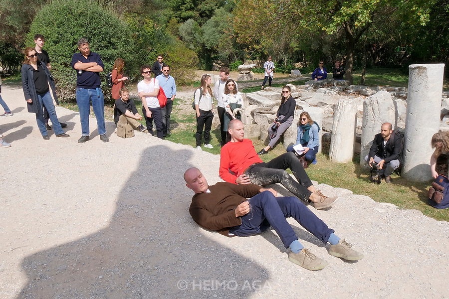 Athens, Greece. Opening days of documenta14.<br /> Agora, Odeon of Agrippa. Performance My Sweet Country by Prinz Gholam.