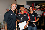 Under 18's Most Improved Player of the Year Brian Asiata with DJ Forbes & Chad Tuoro. Counties Manukau Rugby Union Junior representative prize giving held at Growers Stadium on Monday October 20th 2008.
