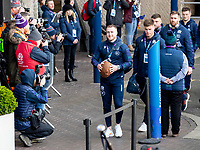 8th February 2020; Murrayfield Sadium, Edinburgh, Scotland; International Six Nations Rugby, Scotland versus England; Stuart Hogg of Scotland leads his squad from the team coach as they arrive for the game