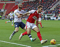 Rotherham United's Joe Mattock holds off the challenge from Preston North End's Tom Clarke<br /> <br /> Photographer David Shipman/CameraSport<br /> <br /> The EFL Sky Bet Championship - Rotherham United v Preston North End - Tuesday 1st January 2019 - New York Stadium - Rotherham<br /> <br /> World Copyright © 2019 CameraSport. All rights reserved. 43 Linden Ave. Countesthorpe. Leicester. England. LE8 5PG - Tel: +44 (0) 116 277 4147 - admin@camerasport.com - www.camerasport.com